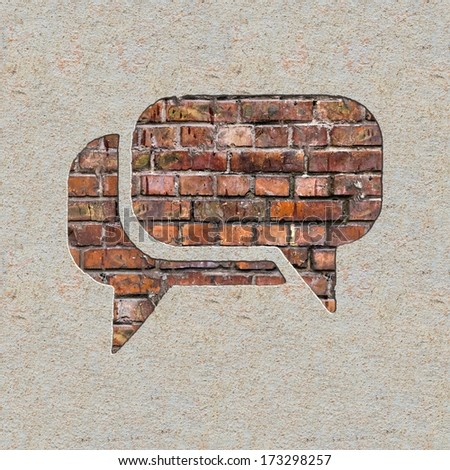 Speech Bubble Icon on the Brick and Plastered Wall. - stock photo