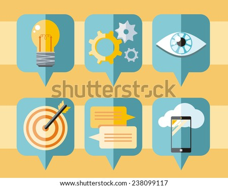 Speech bubble icon set with pictograms of inspire, targeting, idea, organization, vision, application development. Raster version - stock photo