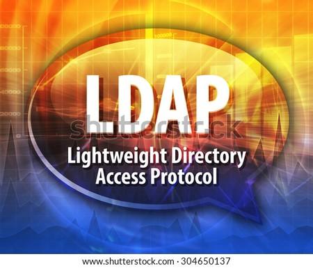 Speech bubble illustration of information technology acronym abbreviation term definition LDAP Lightweight Directory Access Protocol - stock photo