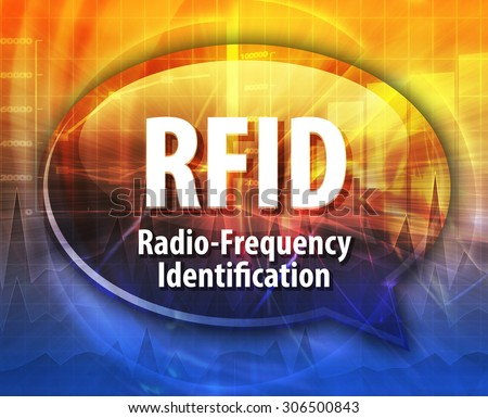 Speech bubble illustration of information technology acronym abbreviation term definition RFID Radio Frequency Identification - stock photo