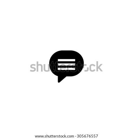 Speech bubble. Simple black flat pictogram on white background - stock photo