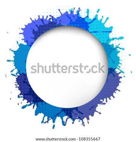 Speech Bubble With Blue Blob, Isolated On White Background - stock photo