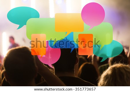 Speech Bubbles and people in background - stock photo