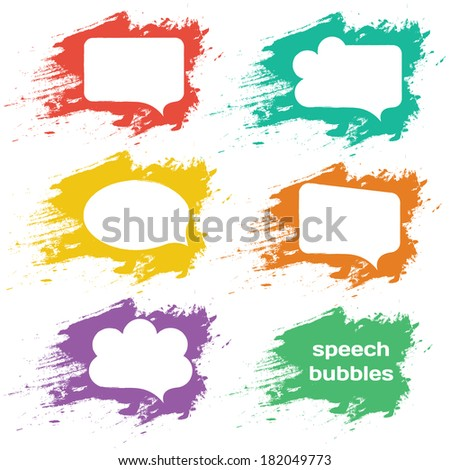speech bubbles colorful collection set isolated on white background. raster copy. - stock photo