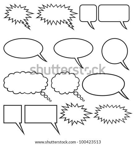 speech bubbles (comic speech bubbles) - stock photo