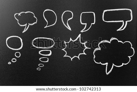 Speech bubbles drawn in chalk on blackboard - stock photo