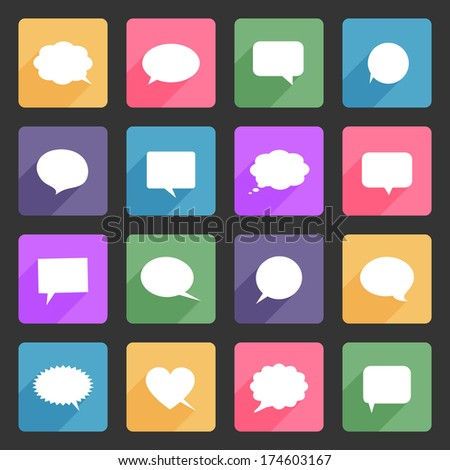 Speech bubbles flat icons - stock photo