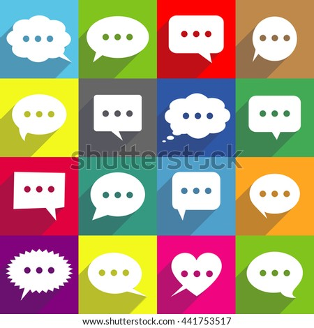 Speech bubbles icons in flat design style - stock photo
