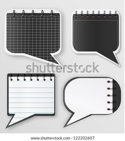 Speech bubbles in notebook style, jpeg version - stock photo