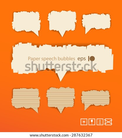 Speech bubbles on orange background. Ready for a text. Raster version - stock photo