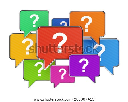Speech bubbles with with question mark symbols isolated on white. Support and assistance concept. - stock photo