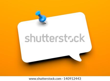 Speech cloud with pin - stock photo