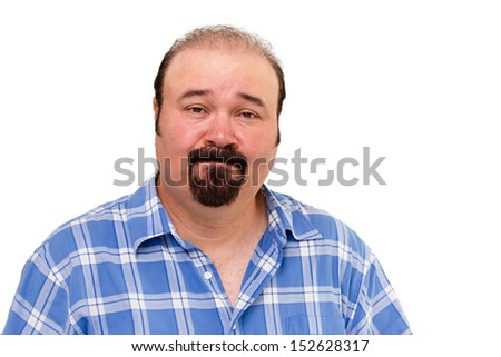 Speechless Caucasian middle-aged man wearing a casual checkered shirt, portrait on white background - stock photo