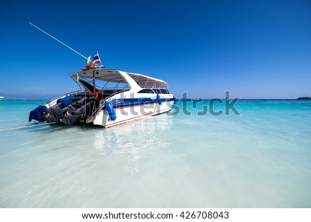 Speed Boat for tourists at Ta Chai Island National Park Thailand. - stock photo