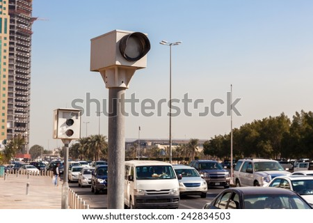 Speed cameras in the city of Kuwait, Middle East - stock photo
