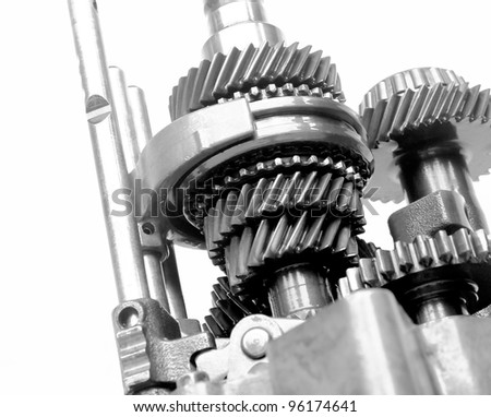 speed gear box on isolated background - stock photo