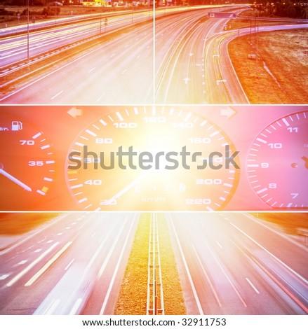 Speed highway collage - stock photo