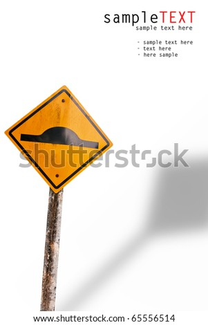 Speed hump sign isolated on white background - stock photo