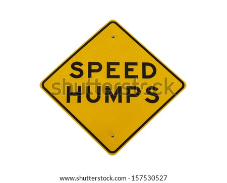 Speed humps road sign isolated with clipping path.  - stock photo