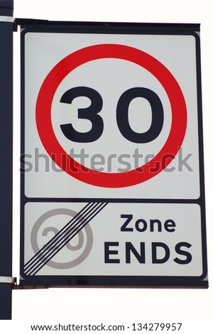 Speed Limit 30 Mph Sign on White Background - stock photo
