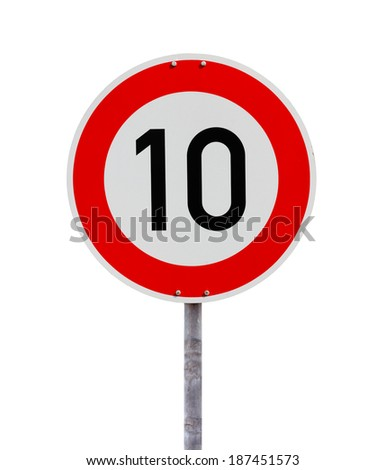 Speed limit sign 10 - stock photo