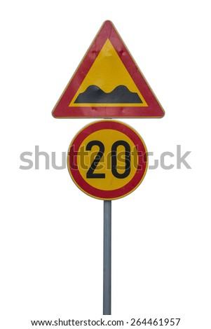 Speed limit sign determining the speed limit 20 and speed bump sign. Isolated on white with clipping path. - stock photo