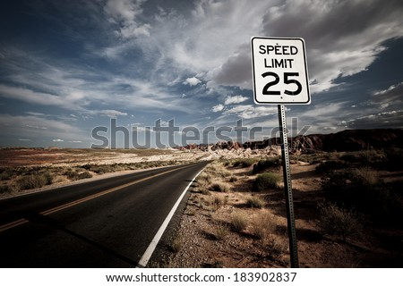 Speed limit sign in National Park - stock photo