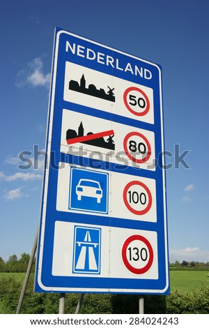 Speed limits in The Netherlands. Sign of Speed limits at the Dutch border - stock photo