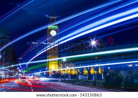 Speed motion at night London, blue light - London City Street Abstract Light - stock photo
