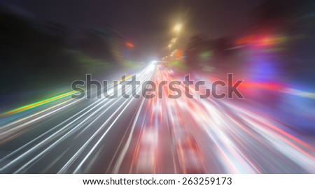 Speed motion on road at night  - stock photo
