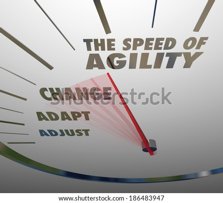 Speed of Agility Words Speedometer Fast Action Change Adapt - stock photo
