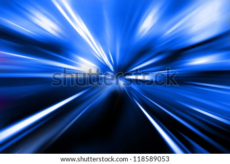 speed on  night street - stock photo