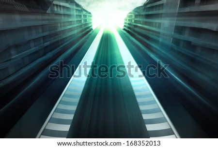 speed racetrack in business city in evening motion blur wallpaper illustration - stock photo