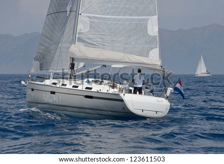 speed sailing yacht - stock photo