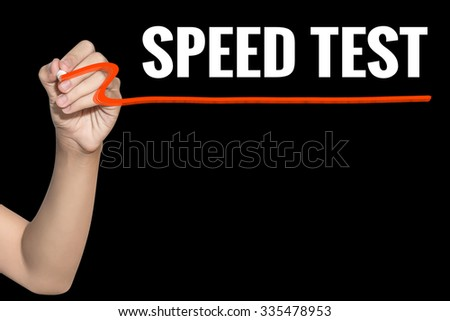 Speed Test word write on black background by woman hand holding highlighter pen - stock photo