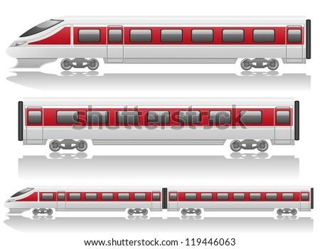 speed train locomotive and wagon illustration isolated on white background - stock photo