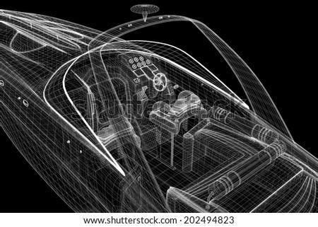 speedboat, Speeding Powerboat,3D model body structure, wire model - stock photo