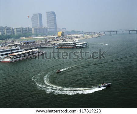 speedboats zooming by - stock photo