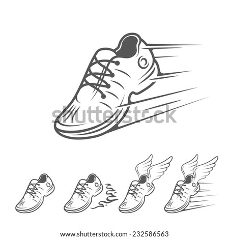 Speeding running shoe icons in five variations with a trainer, sneaker or sports shoe with speed and motion trails, isolated silhouette logo element on white - stock photo
