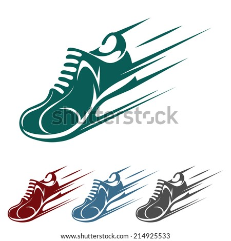 Speeding running shoe icons in four color variations with a trainer, sneaker or sports shoe with speed and motion trails, silhouette on white - stock photo