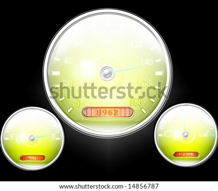Speedometer and other dials on a black background - stock photo