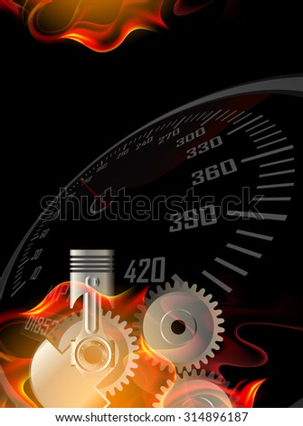 Speedometer and piston in Fire  - stock photo