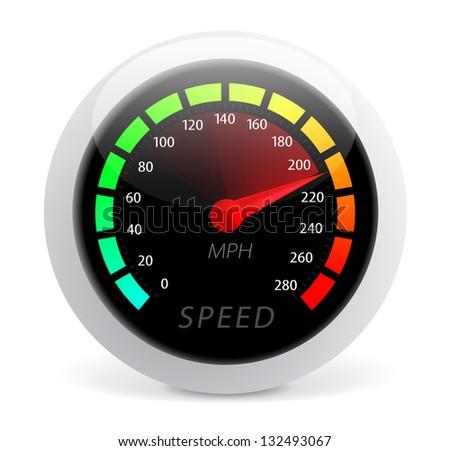 Speedometer illustration isolated on white background - stock photo