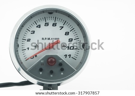 Speedometer in car for measure the velocity, The equipment gauge in control area of the car, Driver monitor car status with speedometer gauge. - stock photo