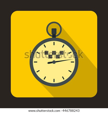 Speedometer in taxi icon in flat style with long shadow. Car symbol - stock photo