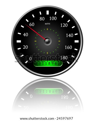 Speedometer on a white background with some reflection - stock photo