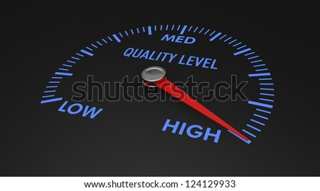 speedometer with quality level, with needle on the high value (3d render) - stock photo