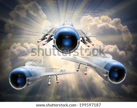 Speedy jets on the sky. Retro style picture on transportation theme. - stock photo