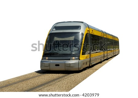 speedy train - metro - isolated in white background - stock photo