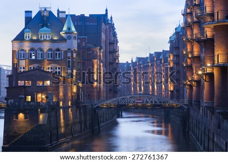Speicherstadt in Hamburg, Germany - stock photo